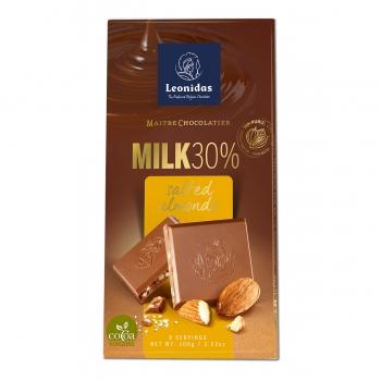 Leonidas Молочный шоколад 30% с соленым миндалем 100 гр.